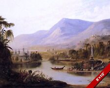 VALLEY OF KASHMIR INDIA W RIVER LANDSCAPE PAINTING ART REAL CANVAS PRINT