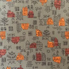 Vintage 1960's Houses Gray Orange Novelty Cotton  Fabric  3 yds