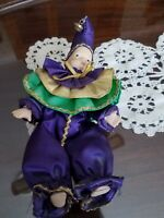 Ceramic And Cloth Clown Vintage 7 Inch Purple poseable