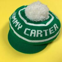 1970s JIMMY CARTER Newsboy PomPom Brim Cap hat Green Stocking USA President