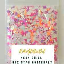 Iridescent Neon White Glitter Hex Mix | 1 TSP | Holographic Acrylic Gel Nail Art