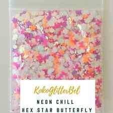 Iridescent Neon Glitter Hex Mix | 1 TSP | Holographic Acrylic Gel Nail Art