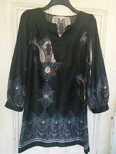 Femmes Noir Tunique Paisley Robe Taille 12 Hippy/Boho facile à porter Fab pour l'été