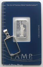 Bezel & Bar 2.5 GRAM PAMP SUISSE STATUE OF LIBERTY WITH FLAG SILVER BAR 999 PURE