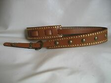 LEATHER TAN  GOLD STUDDED CONCHO GUITAR STRAP