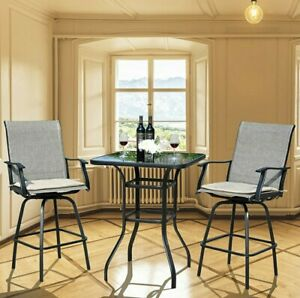 Outdoor Bar Set of 3 High Top Outdoor Table and Chairs