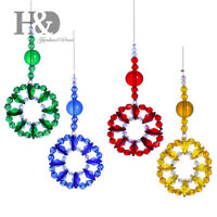 4 Color Ring Crystal Suncatcher Glass Hanging Rainbow Prisms Window Pendant Gift