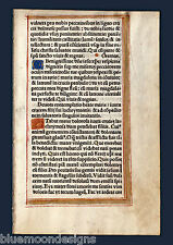 Stundenbuchblatt Orig. 1510 Pergament Livre d'heures leaf Vellum Book of Hours
