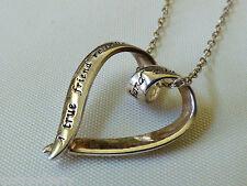 Sterling silver 925 Heart Ribbon pendant True Friend Message Sentiment Necklace