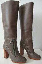 ELIE TAHARI ESME Stiefel Damen Leder High Heel Luxus Boots Taupe Gr.37 NEU