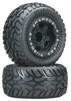Pro-Line Dirt Hawg I Off-Road Tires Mounted on Black Titus Bead-loc Wheels 1/16