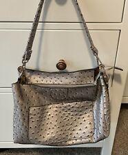 New Faux Ostrich Champagne Handbag Shoulder Bag Convertible Straps