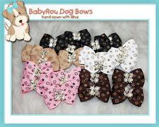 ~BabyRou~ 10 Dog Premium Grooming Pet Bows (Designer Ribbon with Bling Glamour)