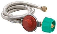 "Bayou M5HPR-1 10 PSI LP Gas Propane Regulator Valve 48"" Stainless Braided Hose"