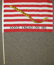 FIRST NAVY JACK FLAG 12X18 FIRST NAVAL DON'T TREAD ON ME TEA PARTY STICK NEW W34