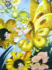 FLOWER CHILDREN & TIGER LILIES 1915 CHILD Print Matted