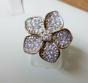 QVC Diamonique Veronese Flower Cocktail Ring 18K Gold on Sterling Silver Size N