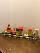 """Wooden Rolling Train Block Building Set Wood Stacking 34 pieces Colors 7"""" Cars"""