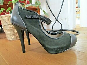 Autograph Green Suede Platform Mary Jane Shoes UK Size 7.5