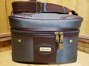 Vintage Jaguar Train Case Cosmetic Overnight Bag - Gray with Maroon Faux Leather
