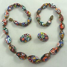 Vintage Venetian Moretti Millefiori Melon Glass Bead Knotted Necklace Earrings