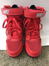 NIKE DUNK SKY Hi Red White And Black Hidden Wedge Sneakers women's sz 7.5