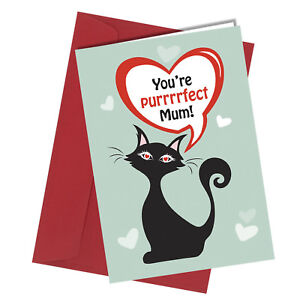 #455 MOTHERS DAY / BIRTHDAY Perfect Mum Cat Greeting Card HUMOUR Funny Rude