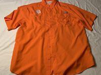 Columbia PFG Clemson Tigers Mens Size XL Full Button Short Sleeve Shirt