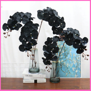 Artificial Flower Black Orchid Silk For Wedding Home Decoration Garden Potted