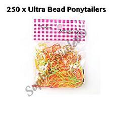 250 x Snag Free Rubber Hair Bands Bobbles Loom Bead Ponios Ponytail MIX BRIGHT