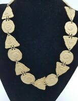 Vintage 1980s Geometric Triangle Circle pattern Gold-tone Statement Necklace