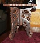 Antique Indian Hand-Carved Wood Folding Round Small Table inlaid top pedestal te
