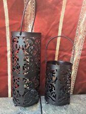 Primitive BLACK WROUGHT IRON Metal Yankee Candle Tealight Pillar Votive LANTERN