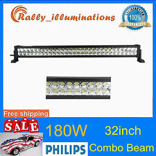 180W 32inch LED WORK LIGHT BAR COMBO Offroad Truck SUV Jeep Ford Driving PHILIPS