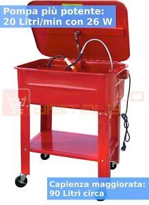Vasca di Lavaggio Lavapezzi 90 L con ruote Pompa 26 W 20 Litri/minuto! Officina
