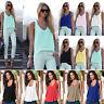 Women Solid Chiffon Sleeveless V-Neck Tank Tops Ladies Beach Camisole Vest Shirt