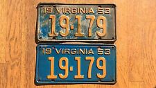 1953 Virginia License Plates Tags Pair VA