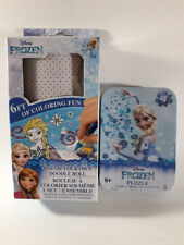 Disney Frozen puzzle Collector Tin 48pcs + 6ft Coloring Roll Elsa & Snowflakes