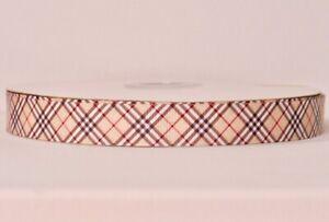 "PLAID TAN SQUARE design 7/8"" Grosgrain Ribbon 1,3,5,10 Yards FACE MASK HAIR BOW"