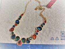 betsey johnson gold bib jeweled necklace