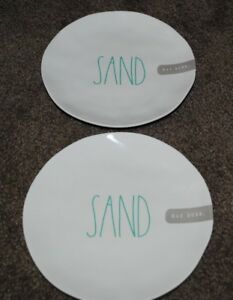 "LOT OF 2 RAE DUNN ARTISAN COLLECTION SAND MELAMINE 8"" PLATES"
