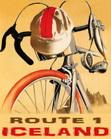 POSTER BICYCLE BIKE RIDE ROUTE 1 ICELAND EUROPEAN CYCLING VINTAGE REPRO FREE S/H