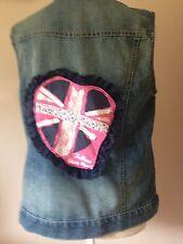 Ladies Size 12 Reworked Blue Denim & Lace Waistcoat/jacket