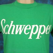 vintage 80s Schweppes Great British Bubbly Ginger Ale T-Shirt Small soda thin