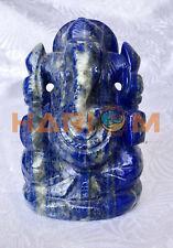"3.5"" Precious Lapis Lazuli Gemstone Spiritual Ganesha Figure Statue Gifts G046"