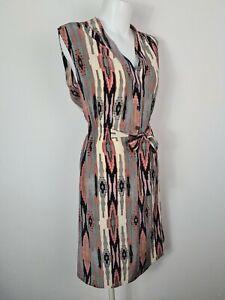 Tucker Geometric Diamond 100% Silk Shirt Dress Women's Size M 1/2 Button Front