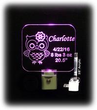 Personalized Baby LED Night Light, Owl, Newborn Gift,  Nursery, Bird