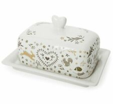WOODLAND Fox Rabbit BUTTER Storage DISH with LID COUNTRY KITCHEN Serving