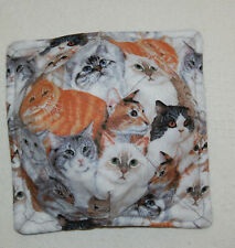 New Handmade Microwavable Reversible Bowl Cozy Adorable Cat with Gray Backing
