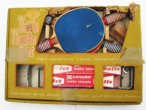 1960s Table Tennis Set Net Clamps 17 Balls Vintage Paddles Ping Pong Universal